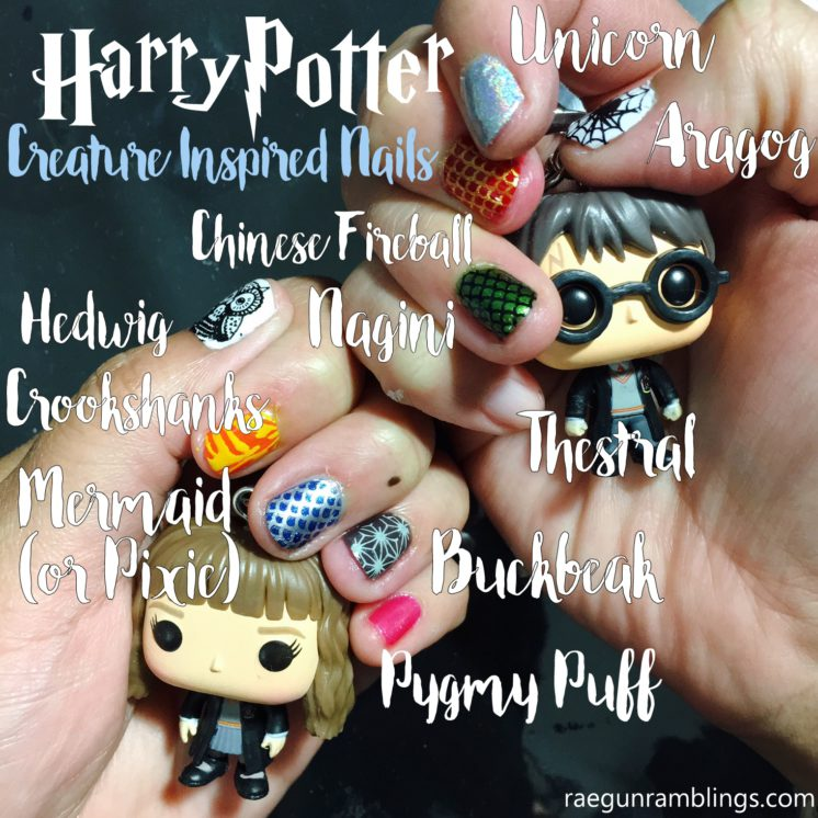 How awesome Harry Potter creatures inspired nail stamping tutorial