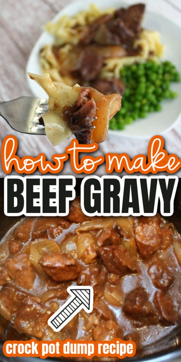 BEST crock pot beef gravy recipe. Super easy set it and forget it dinner great on pasta or potatoes.