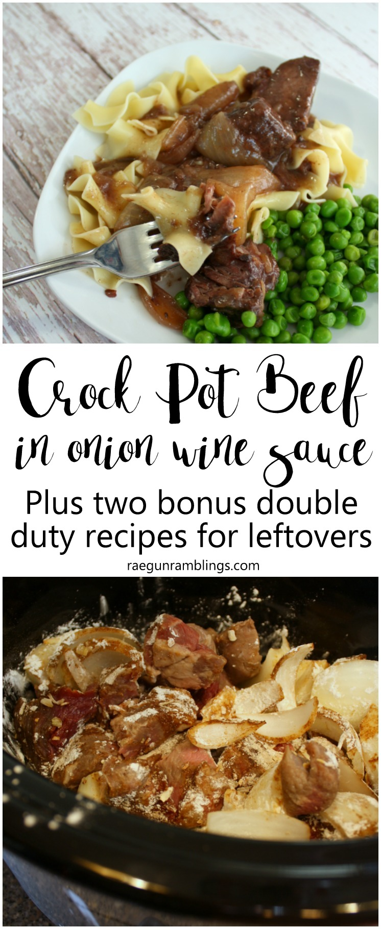 This recipe is SO good. Just dump everything in the crock pot for onion beef pasta. Plus 2 leftover recipes. Great weekday meal ideas