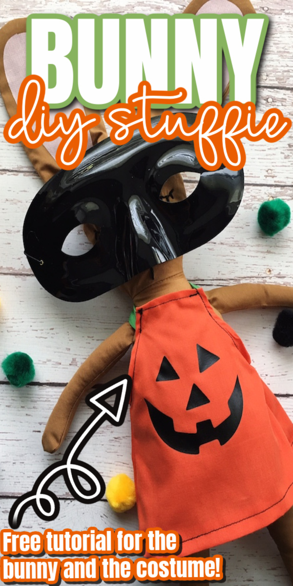 How to make a super cute stuffed bunny sewing tutorial with free jack-o-lantern costume