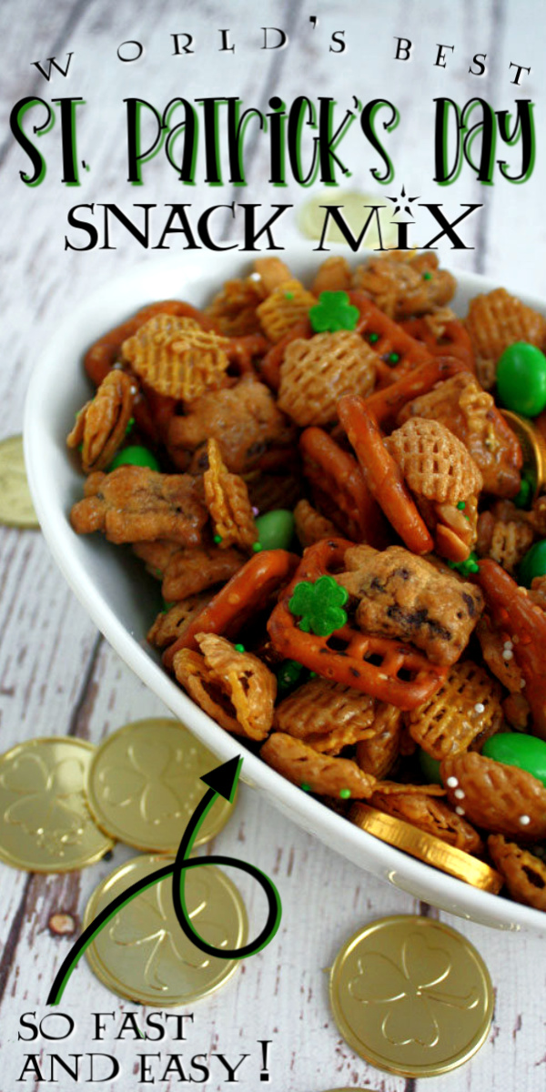 Hands down our favorite St. Patrick's Day Snack Mix such a great chex mix combo perfect for making ahead.