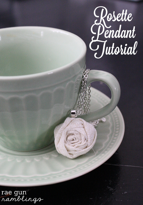 Fabric Rosette Pendant Tutorial quick and easy gift idea perfect for using up scraps - Rae Gun Ramblings