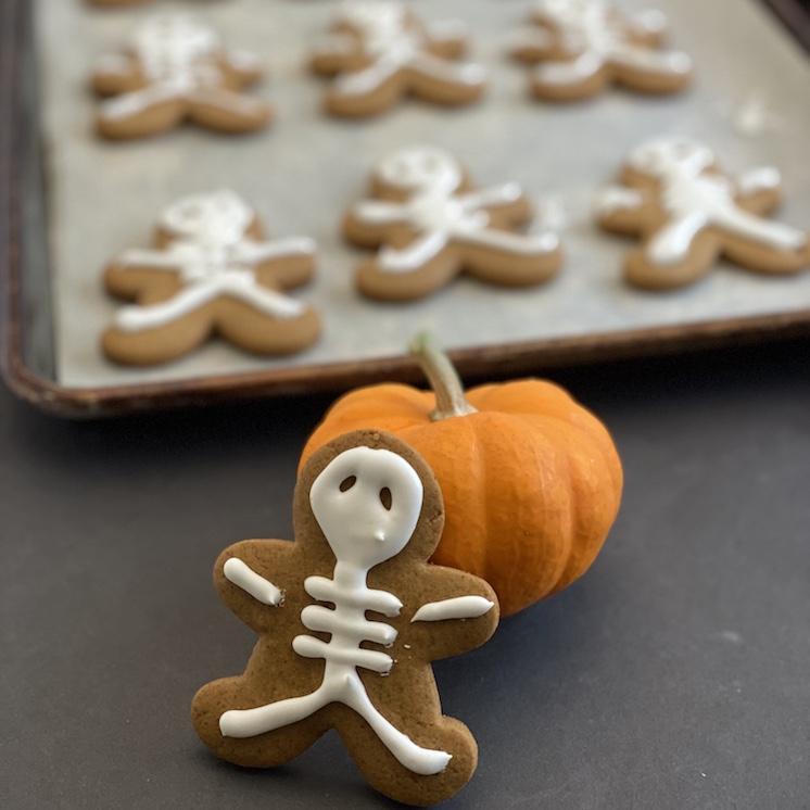 skeleton gingerbread cookies and mini pumpkin