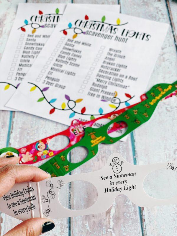 Instructions for 3d christmas light glasses and scavenger hunt