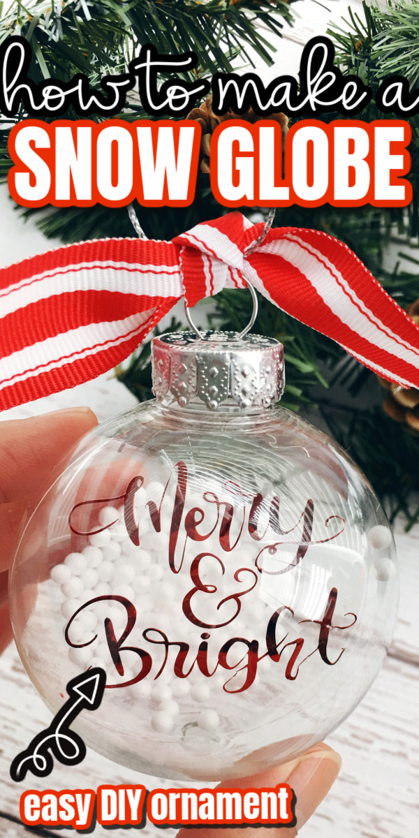 How to make a floating ornament looks like a snow globe using a Cricut and simple dollar store crafting supplies.