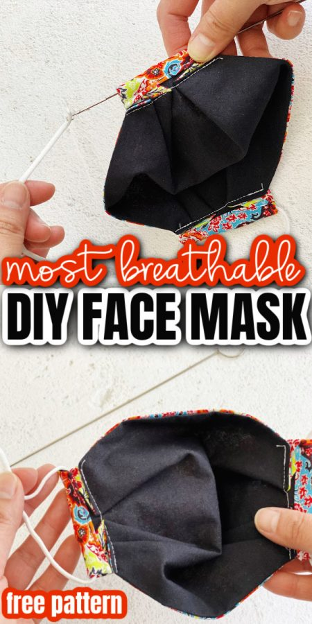 step for adding elastic to fabric face masks