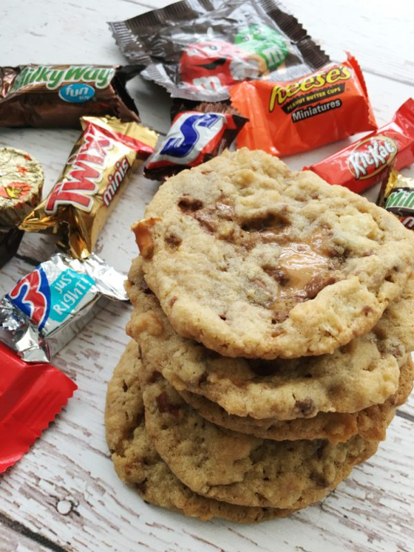 Stack of candy cookies and leftover halloween candy