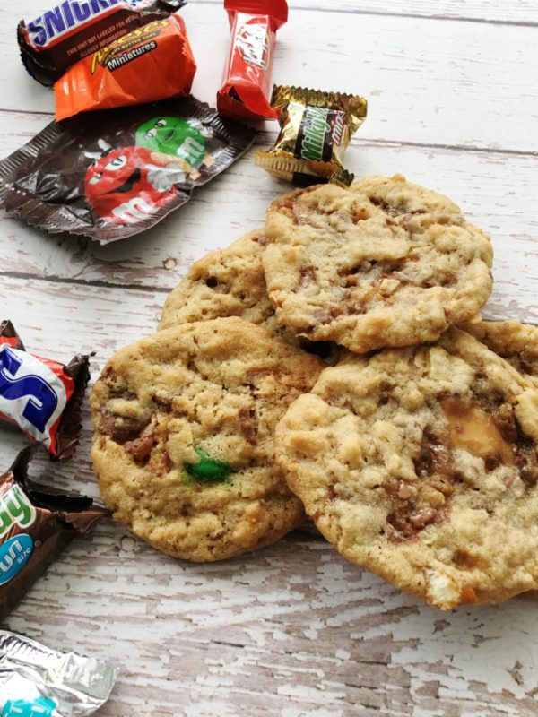 pile of cookies made from leftover halloween cookies
