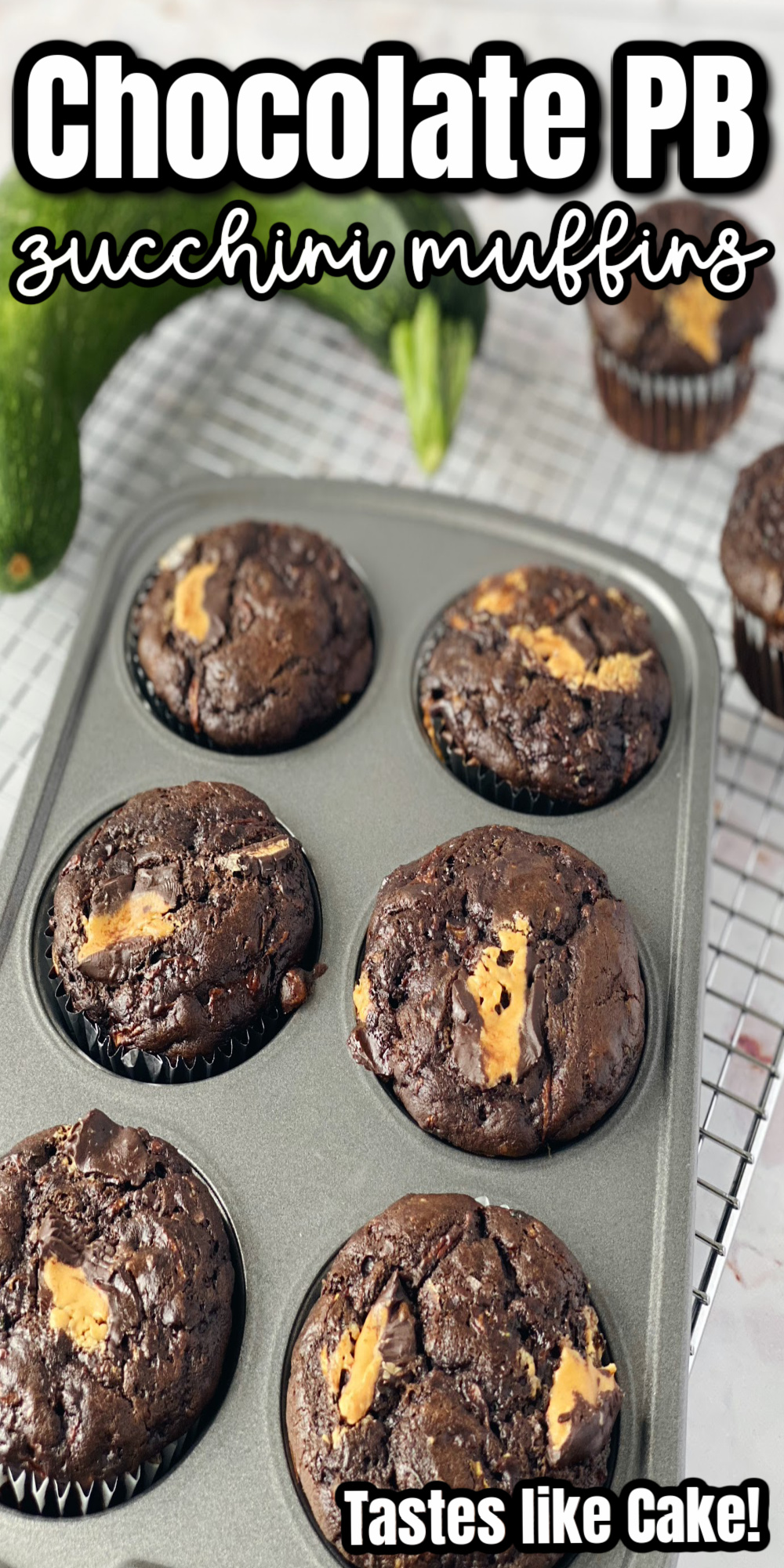 This chocolate peanut butter zucchini bread recipe is so good in muffins or a loaf.