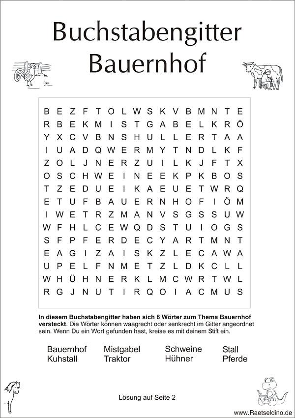 Buchstabengitter Fr Kinder Thema Bauernhof