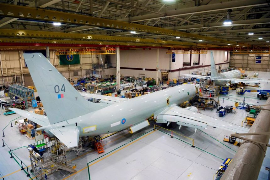 Image shows the Poseidon aircraft in the factory.