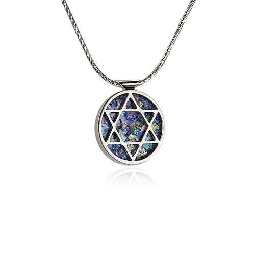 Round silver roman glass star of david pendant rafael jewelry designer the product is already in the wishlist browse wishlist mozeypictures Choice Image