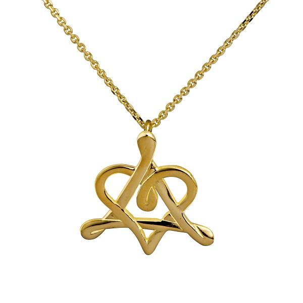 Yellow Gold Star Of David Heart Pendant