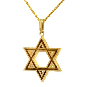 14K Yellow Gold Cutout Star Of David Pendant