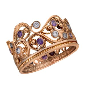 Rose Gold Yemenite Filigree Ring with Purple Amethyst & Lavender