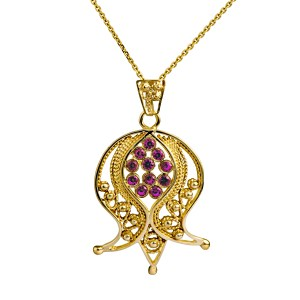 14K Yellow Gold Filigree Pomegranate Pendant with Pink Ruby
