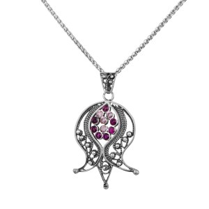 Sterling Silver Filigree Pomegranate Pendant with Pink Quartz and Ruby