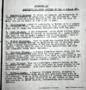 A list of Training Tools used for Bomber crew Training - in this case from No.152 Operational Training Unit at Peshawar (Vultee Vengeances)