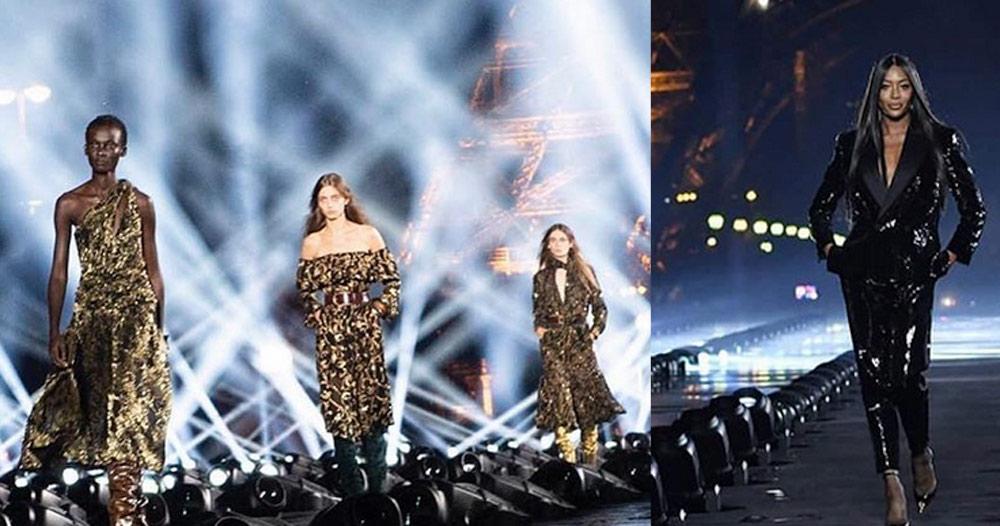 Naomi Campbell incanta alla la sfilata Saint Laurent