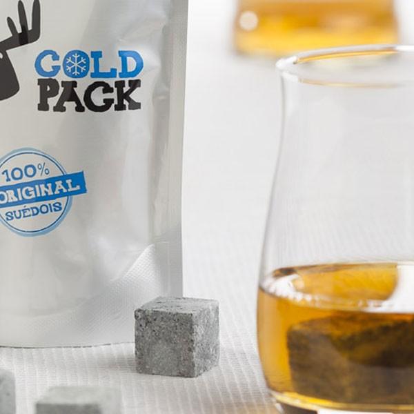 Pierres à whisky - Coffret de pierres ollaires scandinaves - 8 Glaçons en pierre + 1 sachet - Marque Täljsten - Suède