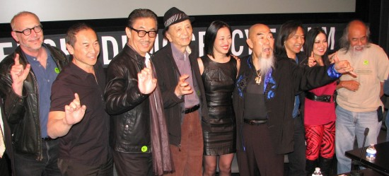 Pictured from left are co-screenwriter Gary Goldman and cast members James Lew, George Cheung, James Hong, Lia Chang, Gerald Okamura, Jeff Imada, Joycelyn Lew and Al Leong. The panelists agreed that the film was a rare opportunity for so many Asian American actors and stuntpeople to work together in Hollywood. (J.K. YAMAMOTO/Rafu Shimpo)