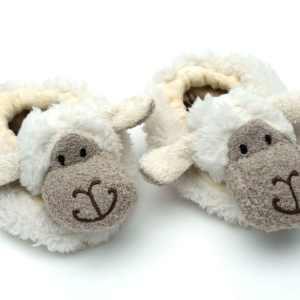 Sheep Baby Slippers – White