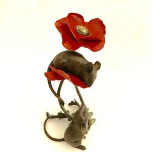 Mice With Poppy -Richard Cooper Limited Edition Bronze