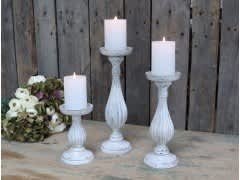 Candlestick For Pillar Candles – White H27cm