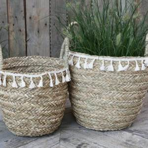 Seagrass Basket With Fringe Small H35cm
