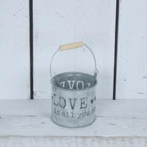Small 'Love Is All You Need' Metal Tealight 19.5cm