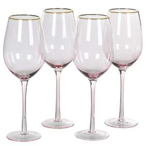Set Of 4 Pink Tone Red Wine Glasses