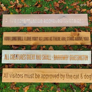 Long 80cm Wooden Plaque – All Visitors Must Be Approved By The Cat & Dog