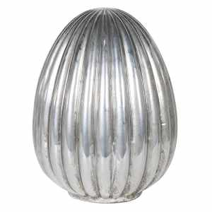 Silver Ribbed Egg Decoration H 21cm