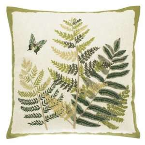 Embroidered Fern & Butterfly Cushion – Feather Fill