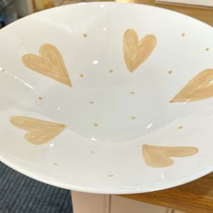 Hand-painted Large Beige Heart Bowl