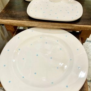Hand-Painted Large Plate – Baby Blue Spots