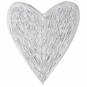 Large Wicker Heart – White