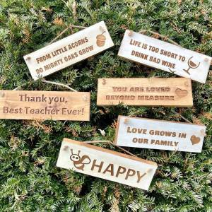 Rustic Small 30cm Wooden Sign – Bee Happy
