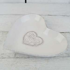 White Ceramic Dish With Floral Heart Detail