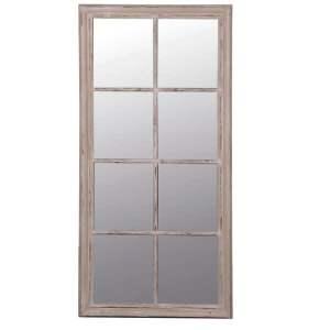 Large Taupe Window Pane Mirror