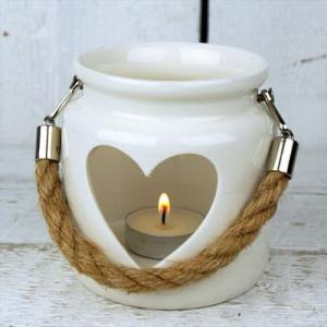 White Porcelain Tealight Holder With Rope Handle