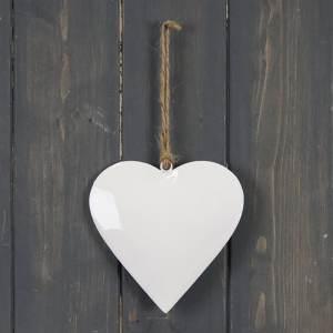 White Enamel Hanging Heart (12cm)