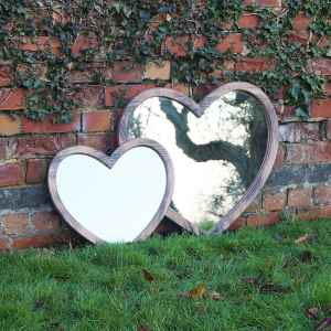 Small Wooden Heart Mirror H46cm