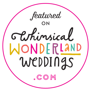 Whimsical wonderland wedding blog badge