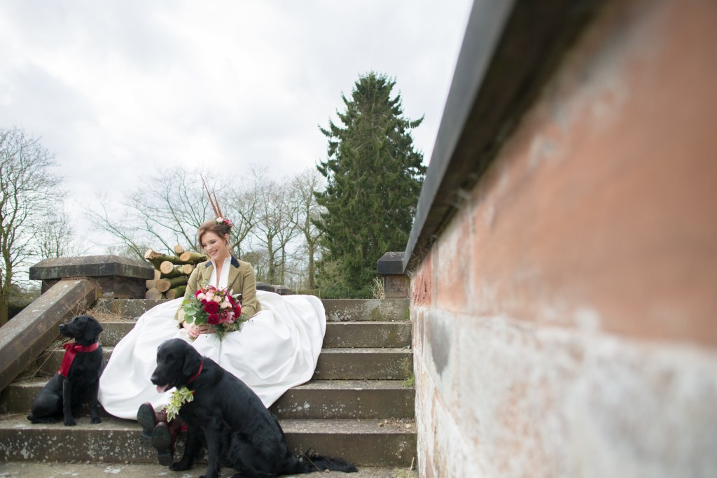 Bride sat on steps with dog at Standon Hall