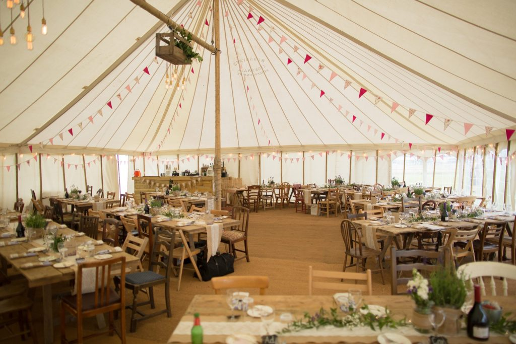 marquee set up for wedding breakfast