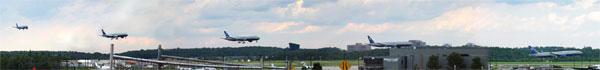 Panorama of Plane Landing