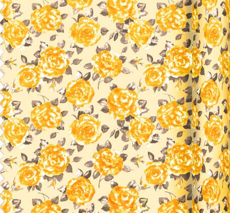 Fabric Gold Large Ragged Rose Rose Print