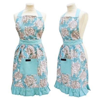 Blue frilly apron