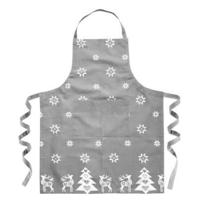silver grey festive christmas apron